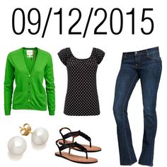 Black & White Polka Dot Tee ith Kelly Green Cardigan, Jeans, Black Sandals, and Pearls:  Saturday, September 12, 2015 by josiegirl77 on Polyvore featuring Wallis, Old Navy and Corso Como