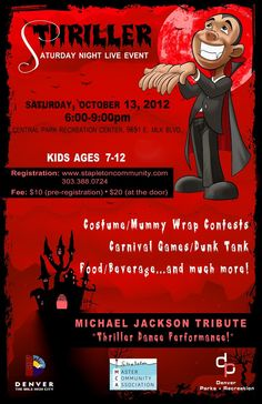 Central Park is hosting a Thriller themed Halloween Party for older kids ages from Halloween Party Themes, Carnival Games, Night Live, Live Events, Parks And Recreation, Central Park, Michael Jackson, Thriller, Dads