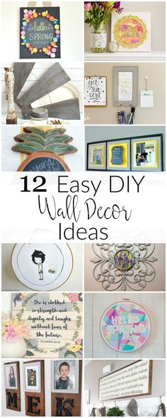 Here are 12 Easy DIY wall decor ideas to help you brighten up your home! Add a little personality and love to your home& walls with these easy tutorials. Diy Home Decor Projects, Easy Diy Projects, Decor Crafts, Home Crafts, Decor Ideas, Easy Crafts, Craft Ideas, Wall Ideas, Diy Ideas