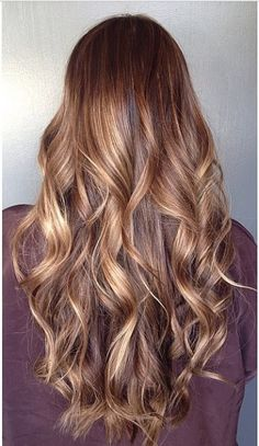 Brown sugar brunette with blended honey blonde highlights