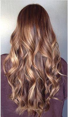 Brown sugar brunette with blended honey blonde highlights