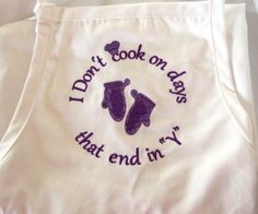 White apron personalized with your favorite saying or name or monogram - perfect for the chef in your kitchen! $19.99
