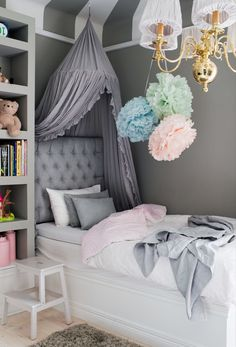 Deciding exactly how to make a little girl's bedroom something unique for her to live as well as take refuge in isn't very easy. These are 25 bed rooms full of delightful concepts for embellishing a woman's area. These suggestions may assist. Girls Bedroom, Dream Bedroom, Bedroom Decor, Bedroom Ideas, White Bedroom, House Of Philia, Princess Room, Deco Design, Little Girl Rooms