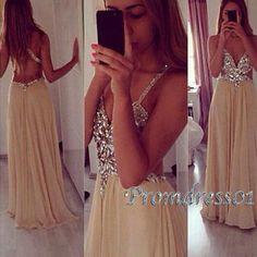 2015 sexy sparkly v-neck backless chiffon long prom dress from #promdress01