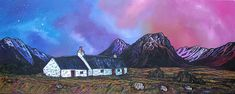 Black Rock Cottage & The Buachaille Early Spring, Glencoe, Scottish Highlands A range of affordable fine art prints of the original Scottish landscape painting by Contemporary artist Andy Peutherer Painting Gallery, Painting Prints, Fine Art Prints, Contemporary Landscape, Contemporary Paintings, Seascape Paintings, Landscape Paintings, Ranger, Isle Of Jura