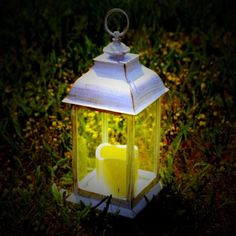 White Antique Effect LED Candle Lantern