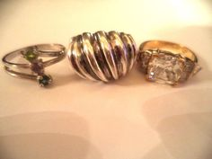 Lot of 3 rings sterling silver sz. 7 turquoise stone  *pretty vintage rings* #Cocktail