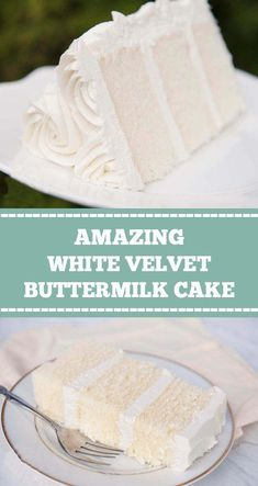 WHITE VELVET BUTTERMILK CAKE White velvet cake gets it's flavor and velvety texture from buttermilk. A moist, tender cake that is great for any special occasion. This recipe makes two round cakes about tall. Easy Cake Recipes, Dessert Recipes, Vanilla Cake Recipes, Recipes Using Lemon Curd, Sugar Free Vanilla Cake, French Vanilla Cake, Summer Cake Recipes, Moist Vanilla Cake, White Velvet Cakes