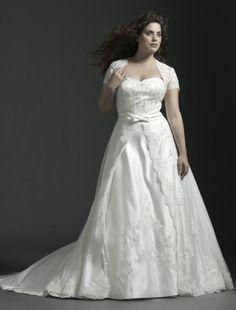 Satin Strapless Sweetheart Neckline A-Line Plus Size Wedding Dress WP-0086