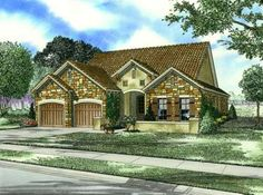 Tuscan Style House Plans - 1943 Square Foot Home , 1 Story, 3 Bedroom and 2 Bath, 2 Garage Stalls by Monster House Plans - Plan 12-874
