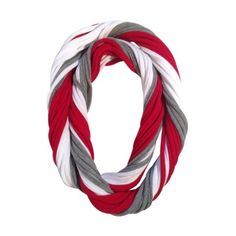 Ohio State Buckeyes Loopy Infinity Scarf - not actually an Ohioan or a Buckeyes fan but I think this scarf is super cute. Ohio State Crafts, Nebraska Cornhuskers, Ohio State University, How To Wear Scarves, Hand Stamped Jewelry, Ohio State Buckeyes, Have Time, Infinity, My Style