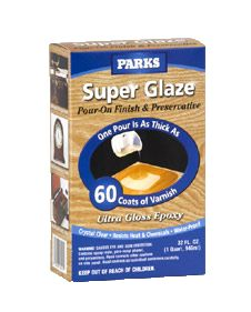 Achieve an ultra-thick, ultra-glossy, waterproof finish instantly with Rust-Oleum® Parks Super Glaze Pour-On Finish and Preservative. Just one pour of this crystal-clear epoxy is as thick as 60 coats of varnish. Perfect for bar tops, kitchen islands and more.