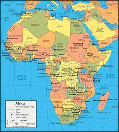 peta wilayah afrika, negara ...