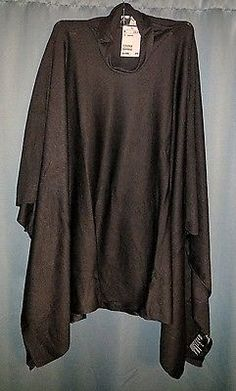 NWT H&M Fine-Knit Poncho Ladies one size Black turtleneck wool
