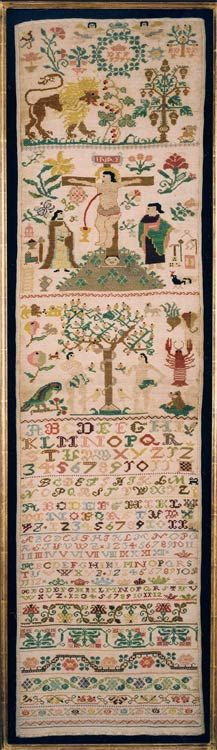German Sampler. DFF 1791.    A superb band sampler worked in brightly coloured silks  with numerous images including a splendid image and depiction of Adam and Eve.