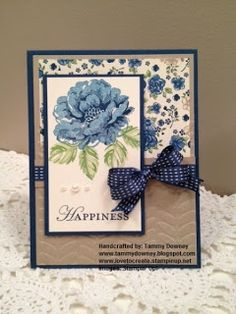 Playing with Papercrafting: Design 101 Projects Pretty Cards, Cute Cards, Diy Cards, Hand Stamped Cards, Beautiful Handmade Cards, Stamping Up Cards, Flower Cards, Flower Stamp, Creative Cards