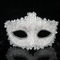Lace Crystal Cosplay Venetian Party Masquerade Halloween Mask (white)