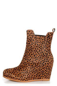 Matiko Kain Cheetah Print Pony Fur Hidden Wedge Chelsea Boots at LuLus.com! #lulusrocktheroad
