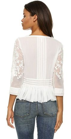 Shop for Pop Paisley Top by Rebecca Taylor at ShopStyle. Rebecca Taylor, Chemises Country, Paisley, Elisa Cavaletti, Mode Chic, Dressy Tops, Mode Inspiration, White Tops, Blouse Designs