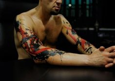 Male Abstract Half Sleeve Tattoo On Both Arms