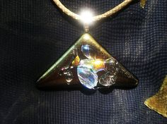 One of A Kind Fused Glass Pendant With Dichroic Glass by DUNEGLASS