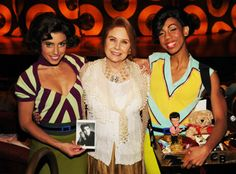 """Darlene Tompkins, who co-starred with Elvis in """"Blue Hawaii"""" and """"Fun In Acapulco"""" recently attended Viva ELVIS™ by Cirque du Soleil® at ARIA Resort & Casino and posed with some dancers from the show."""