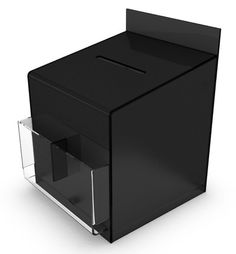 Black Suggestion Box With Clear Pockets, Counter or Wallmounted