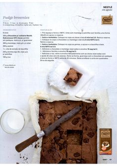 Revista Bimby Agosto 2015 Fudge Brownies, I Companion, Good Food, Yummy Food, Kitchen Time, Happy Foods, What To Cook, High Tea, Afternoon Tea