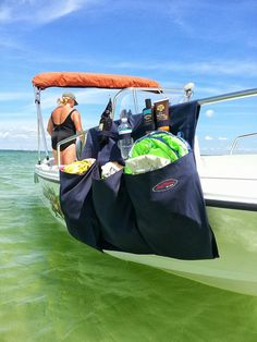 More Color Options! 3 Pocket Boat Storage Organizer Bag RV Camper Closet Tiny House - 1 line free text included! Cool Boats, Small Boats, Boat Organization, Boating Tips, Boating Fun, Boat Cleaning, Camper Boat, Boat Bag, Water Time