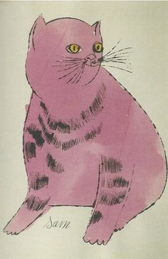 By Andy Warhol, 1954, Chat Cat (Sam), Watercolor.