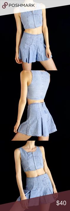 38fba46588b377 Denim two piece crop top and mini skirt Vintage 90s denim two piece set. The