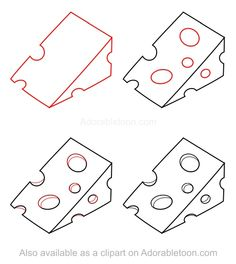 1000 images about tegn o on pinterest how to draw for How to draw cheese step by step