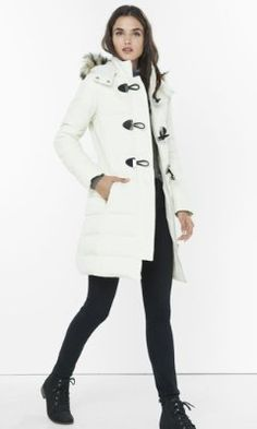 long down filled toggle puffer coat from EXPRESS white/blk or berry color?? hmmmm
