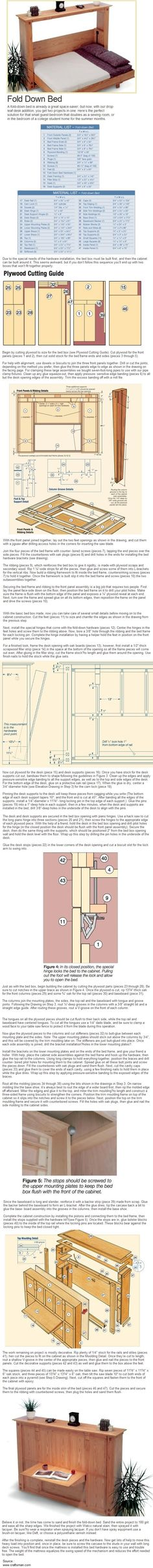 A guide for making a fold down bed. Make the most of tight spaces. http://Craftsman.com #1897