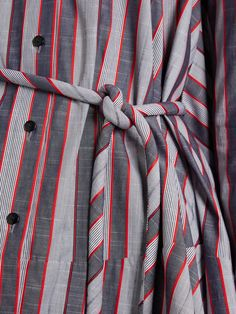 Click here to buy Palmer//harding Extended waterfall-hem striped cotton-poplin shirt at MATCHESFASHION.COM