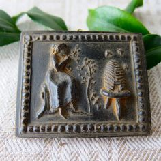 ♥♥♥  BEEKEEPER Lady with Hive and Bees 2 Cast Black BEESWAX Primitive Very Detailed Ornament. $5.25, via Etsy.