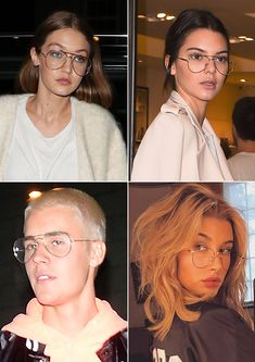 How To Wear Wire Frame Glasses Like Kendall Jenner, Gigi Hadid & Justin Bieber Wire Frame Glasses, Glasses Frames Trendy, Girls With Glasses, Girl Glasses, Justin Bieber Style, Justin Bieber Pictures, Kendall Jenner, Glasses Outfit, Wearing Glasses