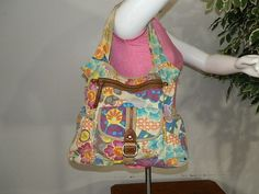 Fossil Multi Color Canvas Tote Shoulder Bag Purse Handbag  #Fossil #TotesShoppers