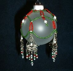 Beaded Christmas Ornament Cover with Chandeliers by Luvzhorses, $12.00