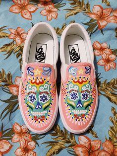 Sugar Skull Slip-On Vans by edmonhandpainted Painted Canvas Shoes, Painted Vans, Hand Painted Shoes, Sharpie Shoes, Rose Vans, Custom Vans Shoes, Skull Shoes, Shoe Company, Unique Shoes