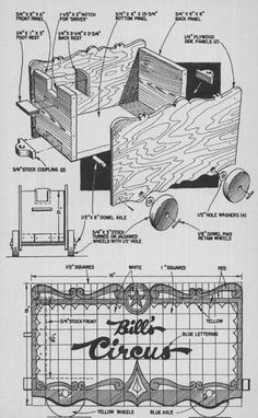 children_s_furniture_you_can_build_bill_baker_circus_wagon_chariot_cirque_meuble_enfant_plan_menuiserie_bricolage_DIY  #circus #vintagecircus