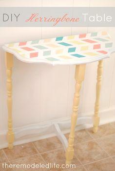 The Remodeled Life: Easy Herringbone Painted Table