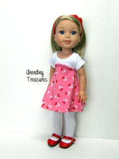 14 inch doll clothes AG doll clothes cherries by Unendingtreasures