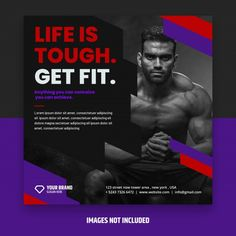 Square fitness flyer Premium Psd   Premium Psd #Freepik #psd #banner #flyer #template #sport Social Media Banner, Social Media Template, Personal Biography, Writing A Bio, Fitness Flyer, Image T, Life Is Tough, Banner Design, Personal Trainer