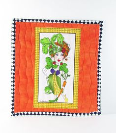 "Vegetable lady hot pad,insulated mug rug, pot holder, quilted oven glove,""Fresh picked Follies"" by Loralie Harris design, handmade by fabricfundesigns on Etsy"
