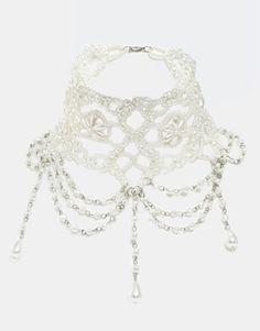 White ASOS Faux Pearl Drop Choker Necklace $30 ASOS