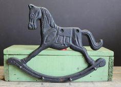 Vintage Black Cast Iron Rocking Horse Key Holder // by MyBarn