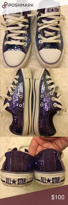 Women 7, Men 5 Popular Sequins Converse All Star Great condition. Soles are in excellent shape! Ombré Style purple colors! Super cute! Converse Shoes Sneakers