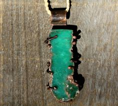 Brilliant green colour Chrysoprase Rustic Pendant held on a plaited cord by HammeredandFired on Etsy  SOLD