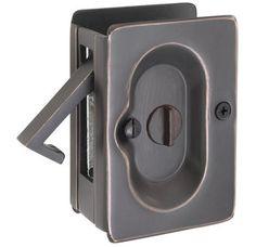 """Emtek 2102US10B Oil Rubbed Bronze 3-1/2"""" Height Solid Brass Privacy Pocket Door Lock $34 (Door thickness : 1-1/2"""", 1-3/4"""", 1-3/8"""", 1-5/8"""")"""